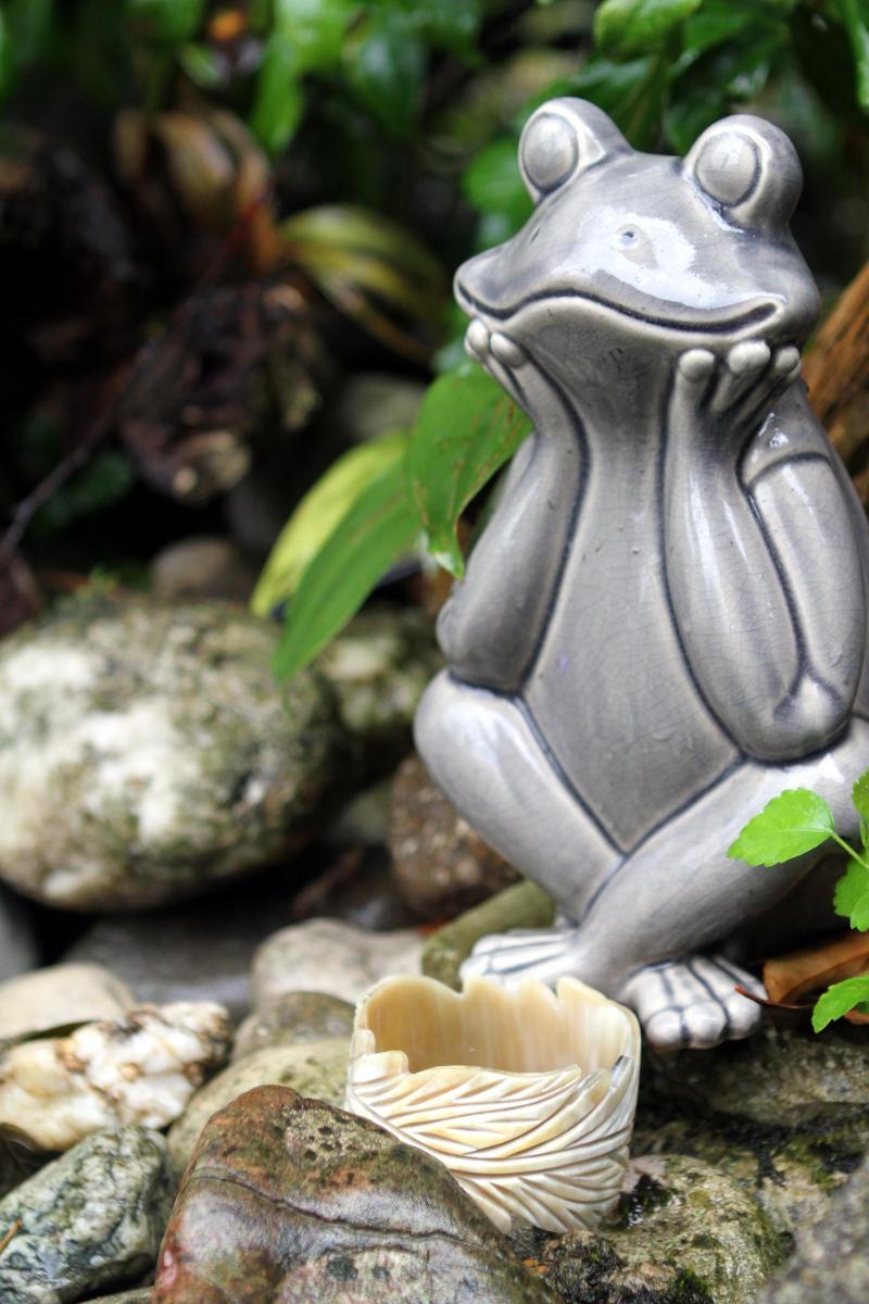 Der Relaxfrosch freut sich über einen handgeschnitzen Armreifen aus Naturhorn in herbstlichem Blätterdesign