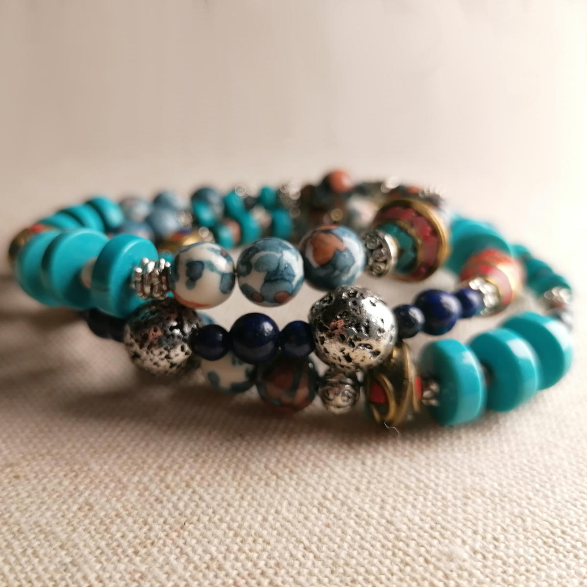 Tibetan bead bracelet, three loops, hand made in Austria
