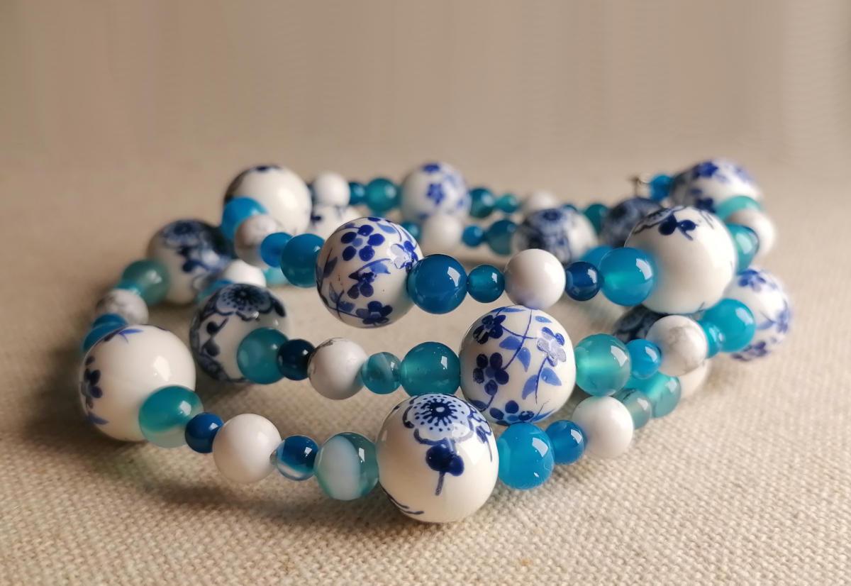 Blaues Porzellanblumen Armband