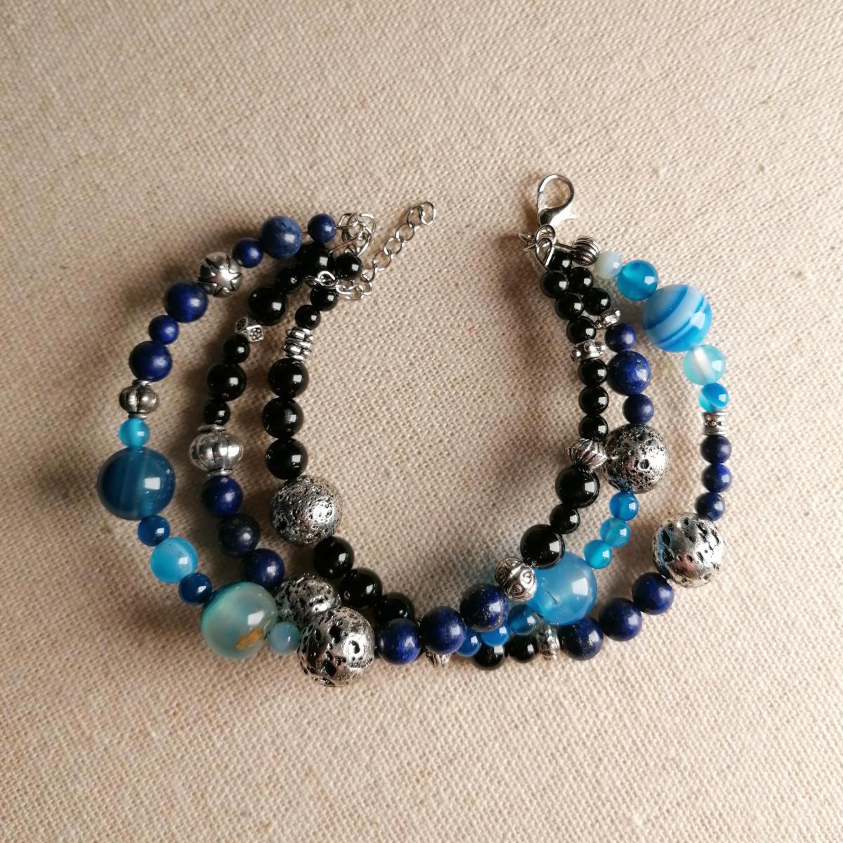 Deep Strata - Dreifaches Armband in Blau und Schwarz