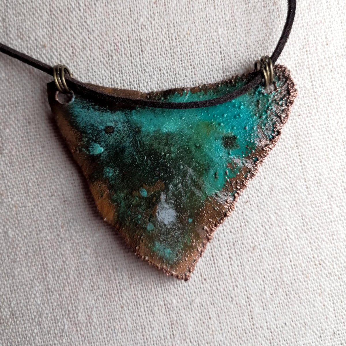 Electroformed pendant with colourful patina, copper, Salzburg