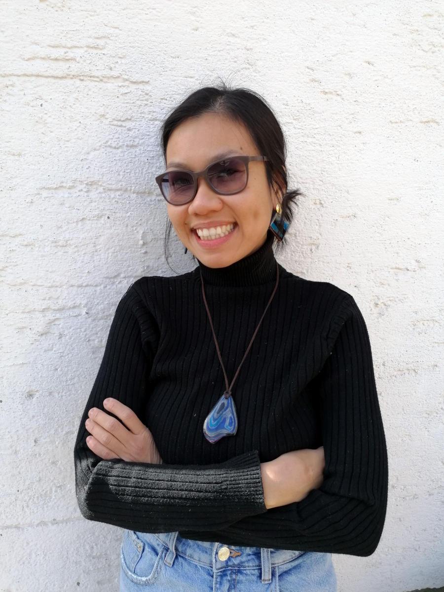 Blue micarta earrings from Austria