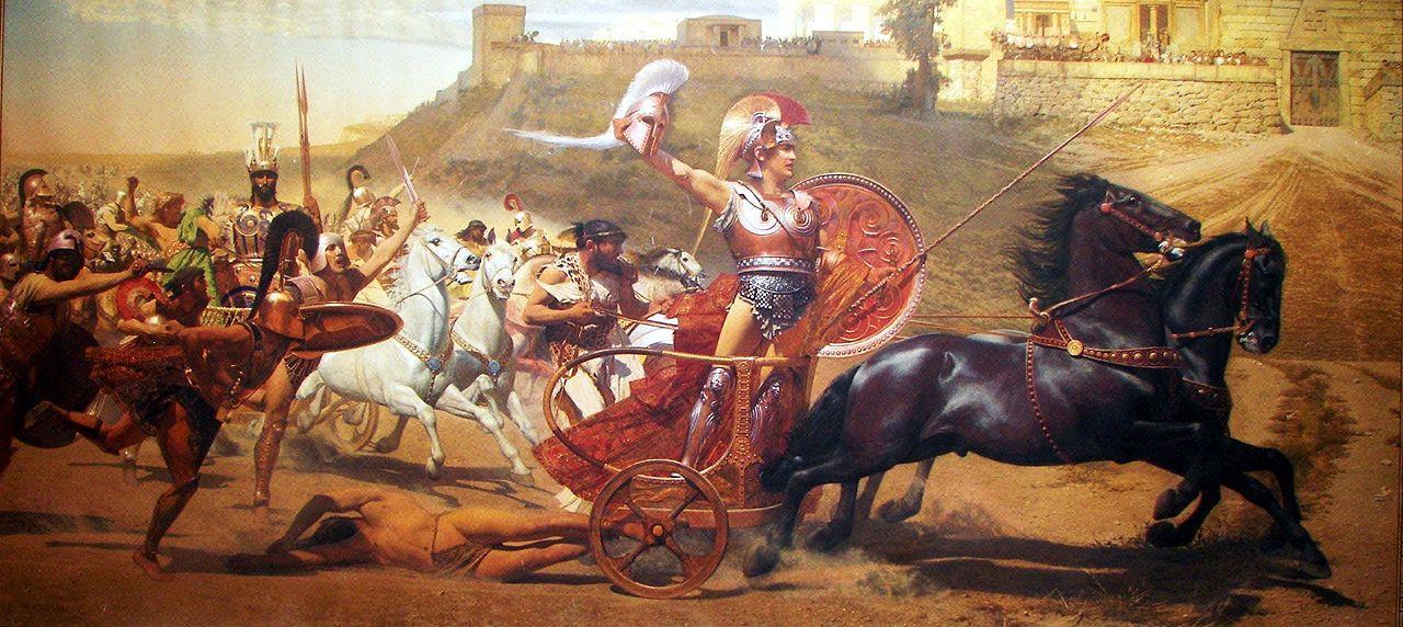 Achilles schleift Hektor um die Stadt