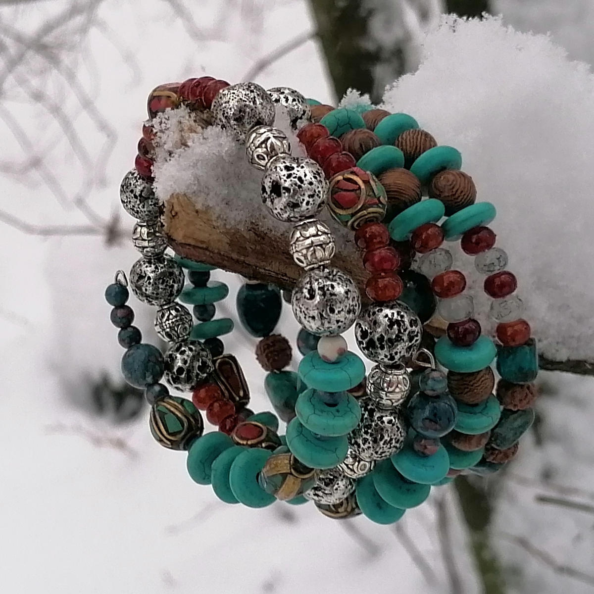 Jewellery and snowy forest