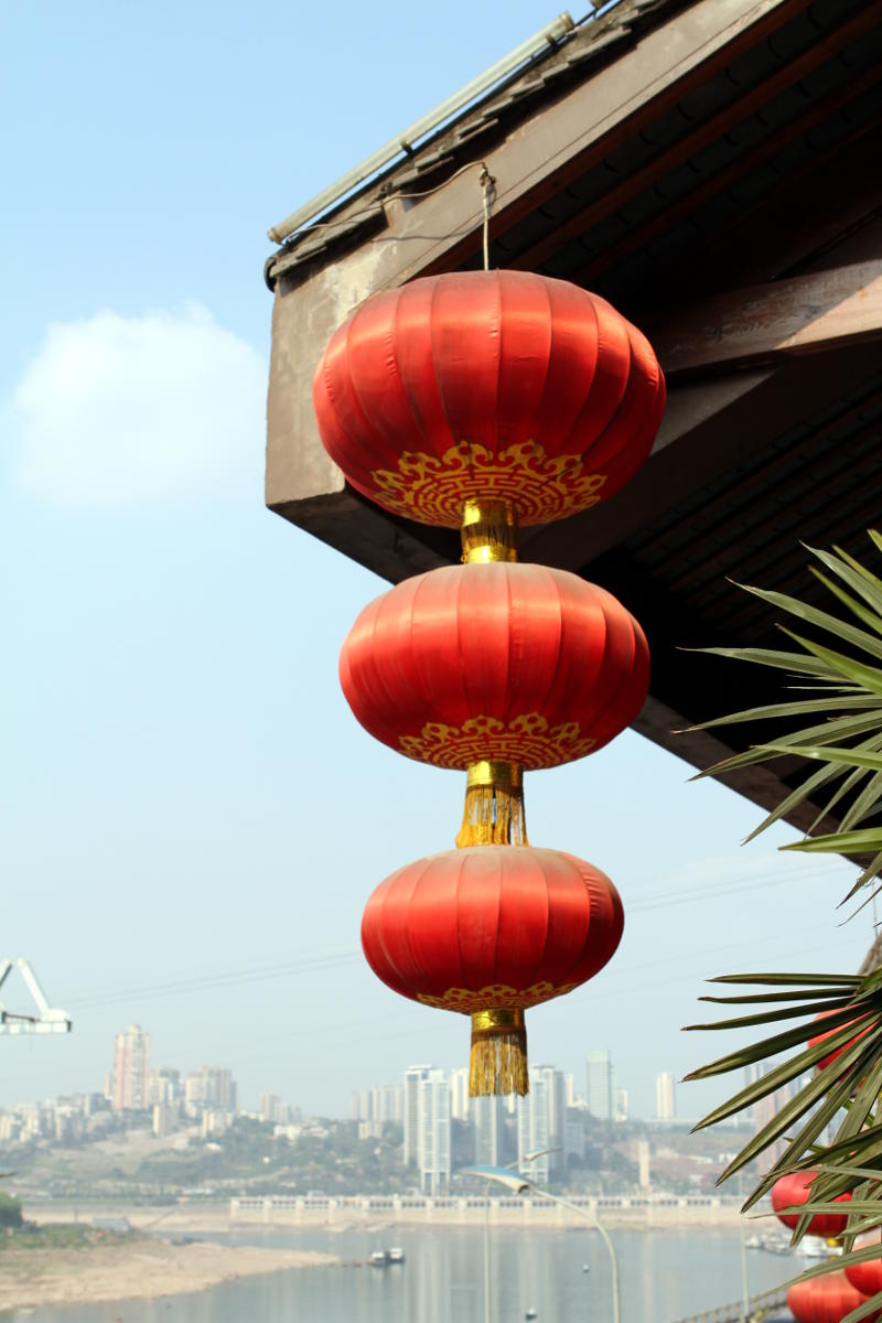 Rote Lampions in China